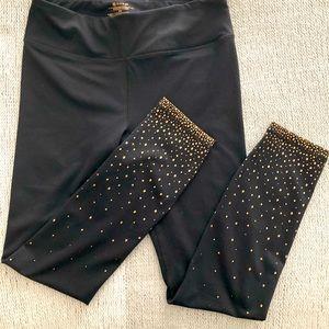 GAIAM Black Gold Leggings Stretch Soft Sz M